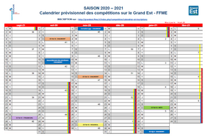 illustration calendrier compétitions 2020 21